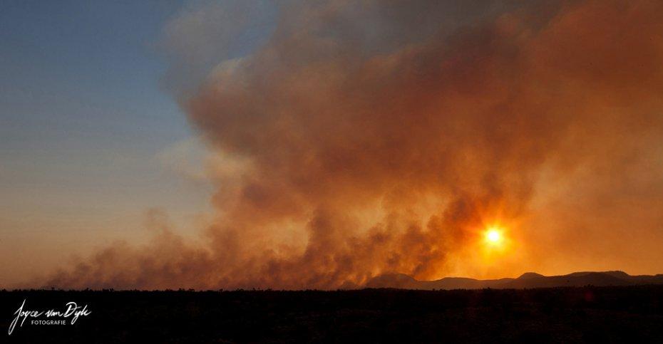Bush fire central Australia, Australien Australië
